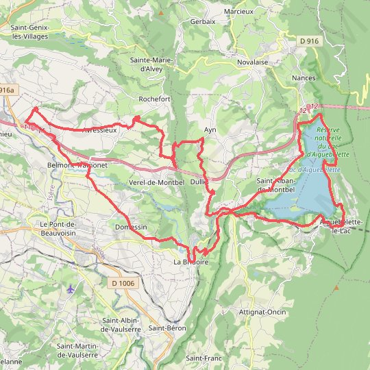 Lac d'Aiguebelette GPS track, route, trail